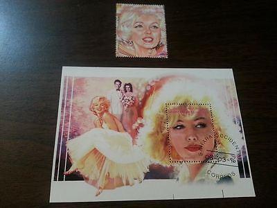 2 Marilyn Monroe Items Souvenir Sheet Plus Stamp