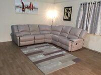 Ex-display Ronson pebble leather manual recliner corner sofa