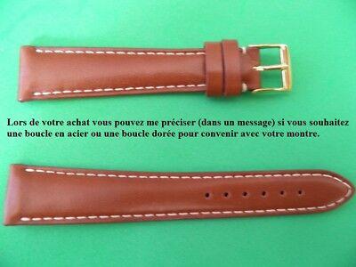 Kalb Box (18 mm Armband Kalb BOX braun GOLD weiße Naht 14 an der Schlaufe FAB Französisch)
