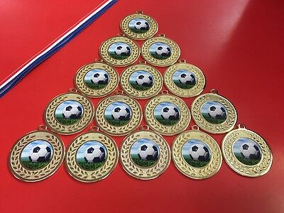 15 X Metal Football Gold/Silver Medals With Ribbons + FREE P&P