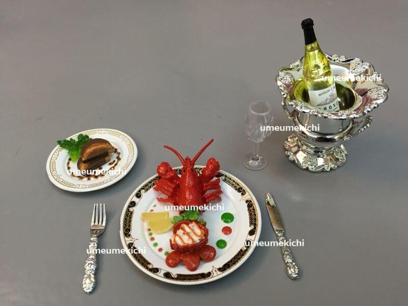Re-ment dollhouse miniature boiled lobster fra gras terrine wine 2008