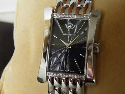 New Sublime Philip Watch Fitted 24 Diamonds Type Art Deco Rectangle