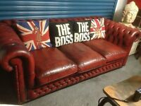 Stunning RARE Chesterfield Vintage Sofa Bed 4 Seater Sofa Oxblood Red Leather - UK Delivery