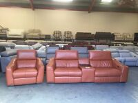 Elixir tan leather 3 seater sofa with Ipod docking station and electric armchair