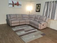 Ex-display Ronson pebble leather manual recliner corner sofa