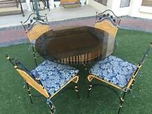 5 Piece Cane & Wrought Iron Dining Suite Outdoor Setting Oakden Port Adelaide Area Preview