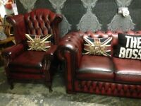 Stunning Chesterfield 3 Seater Sofa & Queen Anne Wing Chair Oxblood Red Leather - UK Delivery