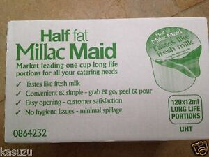 12 ML HALF FAT SKIMMED MILK 120 x LONG LIFE MILLAC MAID PORTIONS UHT JIGGER