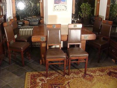 Ausgefallener Jugendstil Tisch mit 6 Stühlen