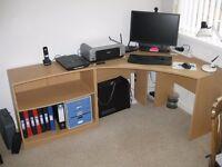 Light colour Computer Corner Desk and Bookselves