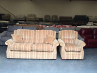P.K. Oakham terracotta and gold stripe fabric sofa and armchair