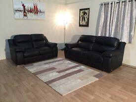 Ex-display Sisi Italia black leather 3+2 seater sofas