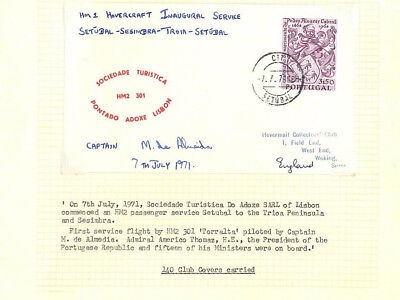 BC256 1971 PORTUGAL Inaugural Hovercraft FIRST FLIGHT Card SIGNED CAPTAIN Page