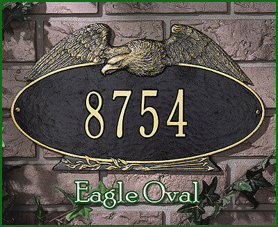 Whitehall Eagle Oval Address Marker Plaque Personalized Sign No Rust & 2 Mount ()