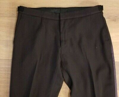 NWT $550 CLAUDIO TONELLO LUXURY MADE IN ITALY HEAVY WOOL TUXEDO STYLE PANTS 35