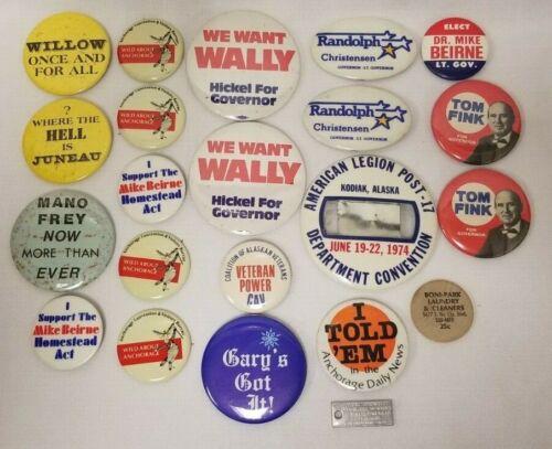 Vintage Lot Of (21) political campaign pins buttons Alaska Elections