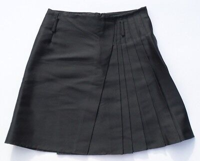 BALENCIAGA Black Pleated Mock Wrap Back Zip Silk Twill Skirt FR 40 Missing Belt