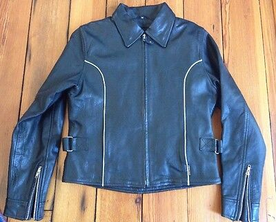 Red Line Black Leather Biker Motorcycle Jacket Removable Vest Womens M