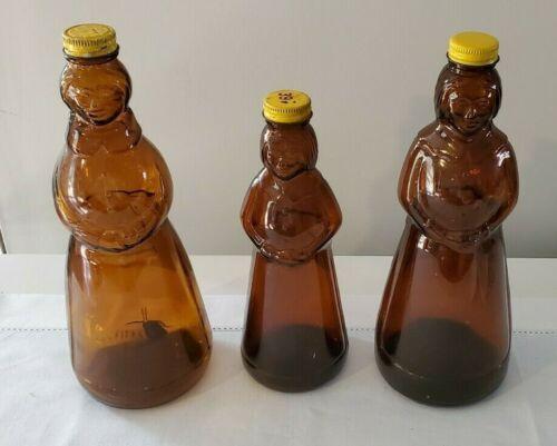 Vintage Aunt J Mrs. Amber Glass Syrup Bottle Retired Set of 3