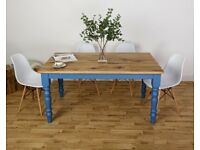 Farmhouse Oak Kitchen Dining Table All Size/Colours Modern