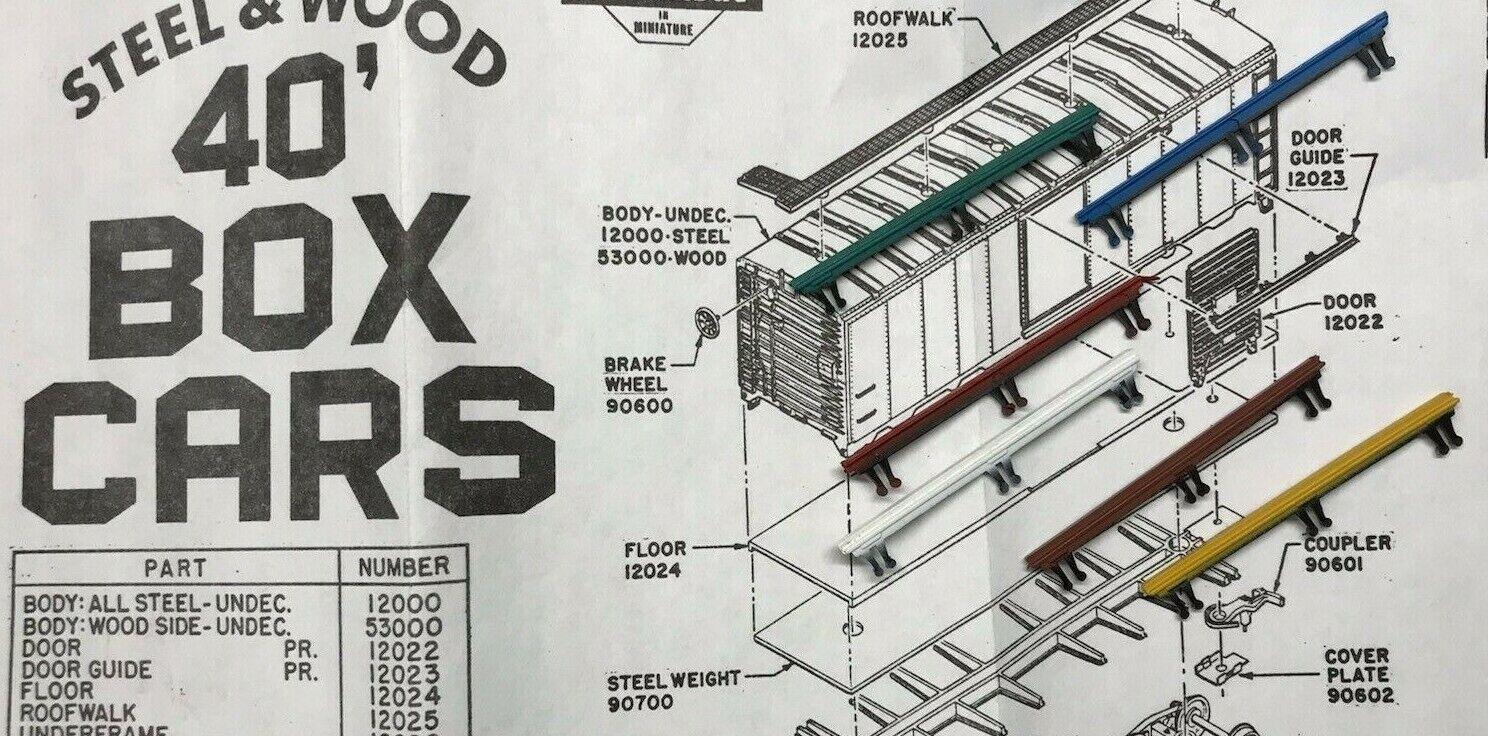 Car Parts - Athearn HO 40' Box Car Parts - Part #12023 - 1 Pair of Door Guides CHOOSE COLOR!