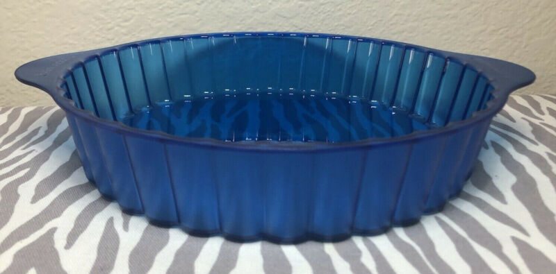 Tupperware Microwave Round Cake Pie Pan Mold Blue 7 Cups New