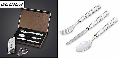 Ceramic Flatware Set 3-Piece Designer  zirconia Tip - Fork, Knife, Spoon utensil