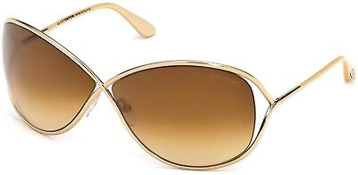 c0686c8101 Tom Ford TF 130 FT0130 28F Gold Miranda Brown Gradient Women Sunglasses  Case New