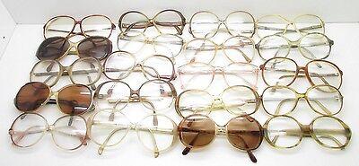 SET of 20 Vtg WOMENS OVERSIZED ROUND EYEGLASSES FRAMES eyewear bulk lot TV6 S95