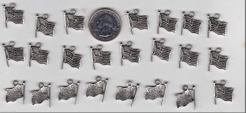 LOT OF 24 METAL SILVER TONE U.S. FLAG CHARMS. - GOOD STUFF FROM JUNKMANRALF -C6