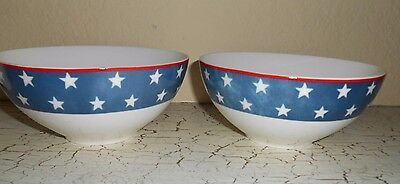 4 CIROA Fine Bone China AMERICAN STARS Dinner Bowls Patriotic USA Red White Blu - Patriotic Dinnerware