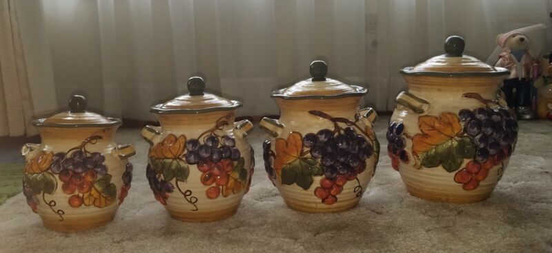 Certified International Tuscany Set 4 Canisters Fruit Leaves Grapes Gladding