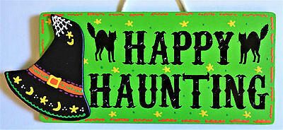 HAPPY HAUNTING Witch Hat SIGN Autumn Fall Halloween Wall Door Black Cats Plaque