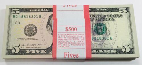 $500 bank pack of NEW Crisp $5 Notes. 2013  Consecutive