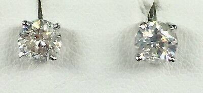 1.43 ct NATURAL round DIAMOND solitaire stud earrings 14k white GOLD