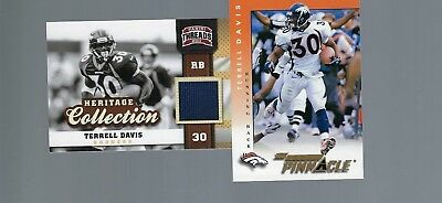 1998 PINNACLE TEAM PINNACLE TEST  TERRELL DAVIS + JERSEY TRHREADS HOF BRONCOS image