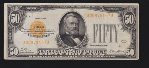 US 1928 $50 Gold Certificate FR 2404 VF-XF (-917)