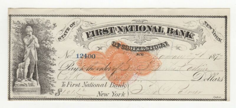 1873 First National Bank of Cooperstown Check