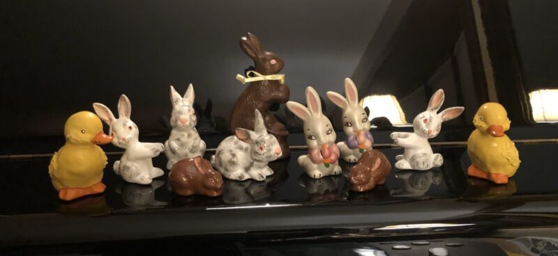 Vintage Ceramic Bunny And Duck Figurines Hand Painted 1970's