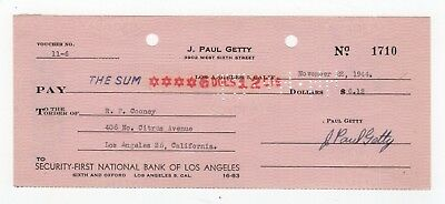 J. Paul Getty - Bank Check