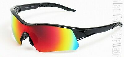 Hunter Sports Wrap Safety Glasses Motorcycle Sun Z87 Ice Redorange Mirror 563