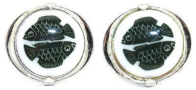 Vtg DENMARK Modernist ROYAL COPENHAGEN PORCELAIN Sterling Silver Fish Cufflinks