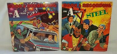 "VINTAGE THE A-TEAM 1984 2 READ ALONG BOOK AND 7"" RECORD STEEL & THE MALTESE COX"
