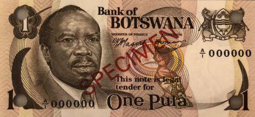 BOTSWANA PULA 1976 SPECIMEN SET of 5 CURRENCY MONEY BILL BANK NOTE