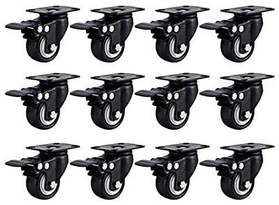 Caster Wheels Rubber Base W Top Plate Bearing W Brake 12 Pack 2 W Brake