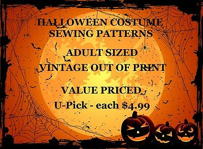 OOP Halloween Choice of ADULT Clearance Costume Sewing Patterns - All $4.99 each