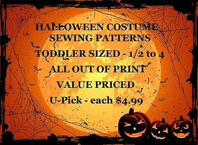OOP Choice of Toddler Clearance Halloween Costume Sewing Patterns All $4.99 each