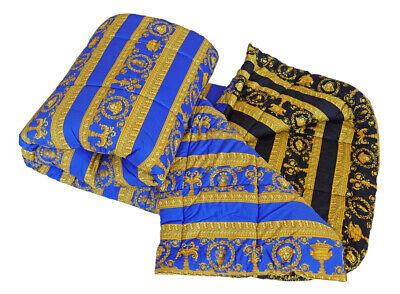 VERSACE Baroque Medusa Comforter King Size  Blue/Black - quilted -