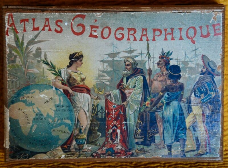 ATLAS GEOGRAPHY CUBE PUZZLE ~ 6 LITHO VERNEAU WORLD MAPS 1889 CHILD VINTAGE TOY