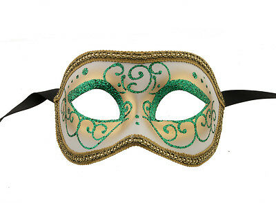 Mask Venice Colombine or Civet Golden Green for Fancy Dress 1056